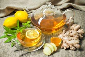Bild: Rooibos Tee mit Honig, Zitrone und Ingwer
